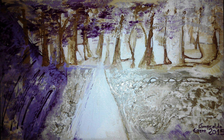 Acrílico sobre corcho 60 x 90 cm titulado Camino Soñado. Pintado en 2015 por Esmeralda