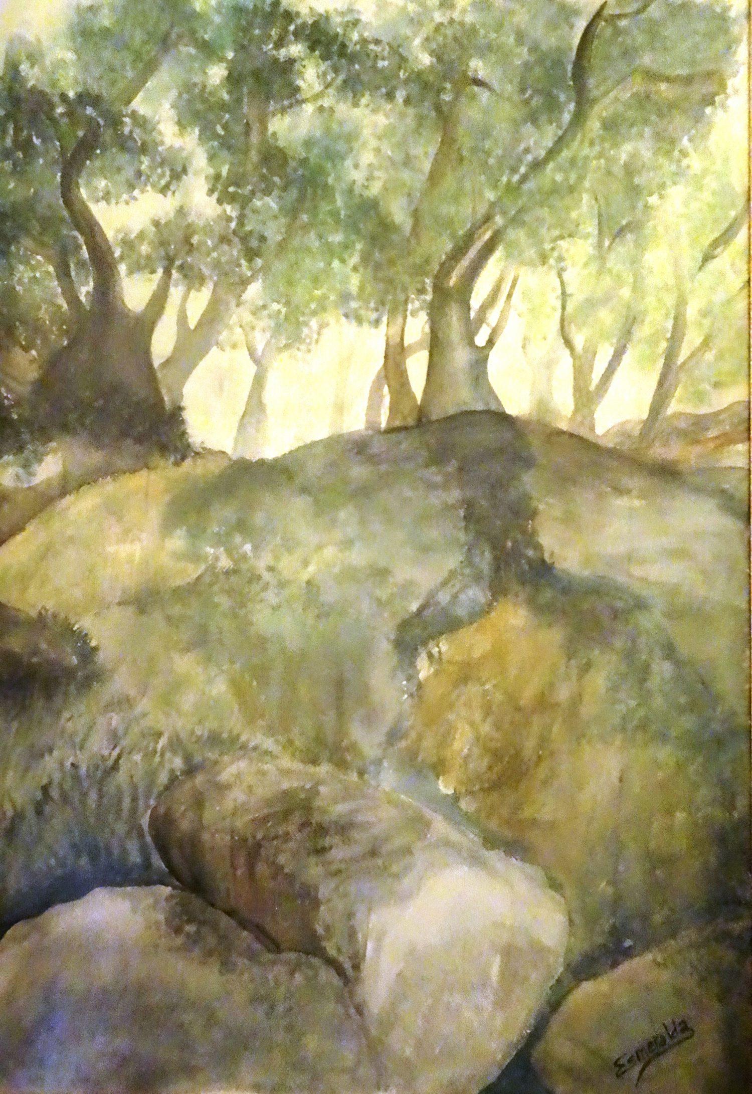 Acuarela 120 x 70 cm, titulada Gnomos Escondidos de Esmeralda