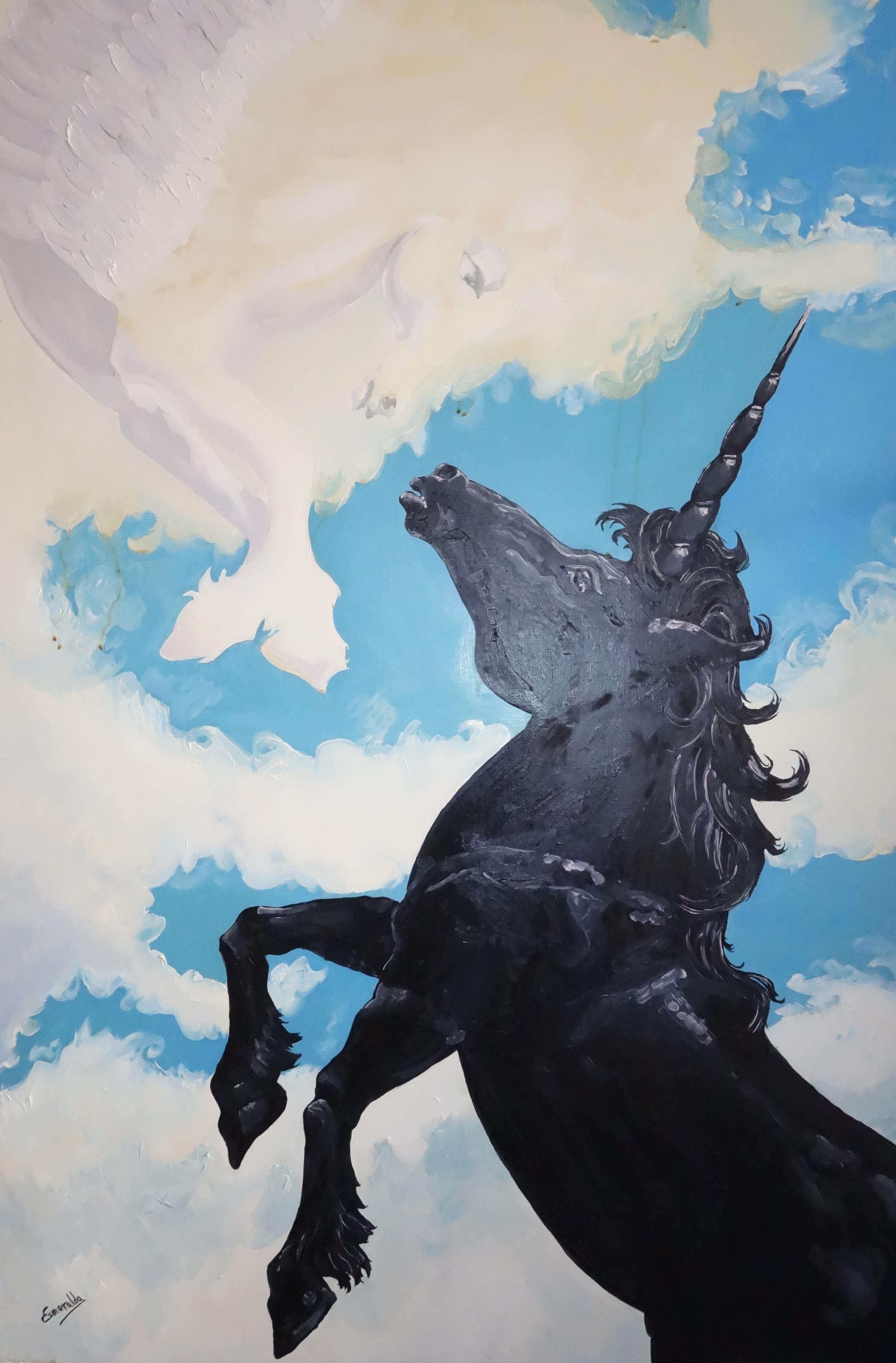 Óleo sobre lienzo 65 x 100 cm. Inspirada en pintura de artista desconocido. Pintada por Esmeralda en 2006 bajo el título Amor Posible