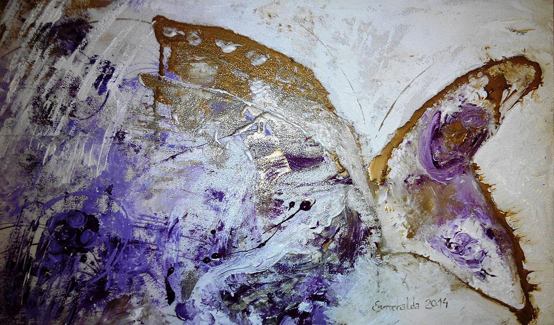 Acrílico sobre corcho 60 x 90 cm titulado Estertor de Mariposas. Pintado en 2014 por Esmeralda