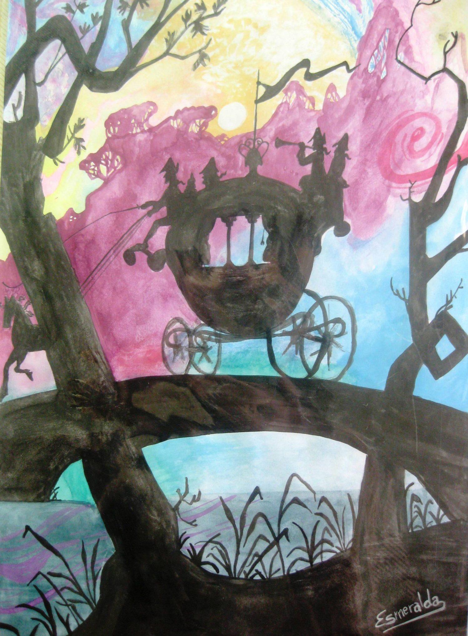 Acuarela sobre A4 inspirada en un cuento infantil. Pintada por Esmeralda