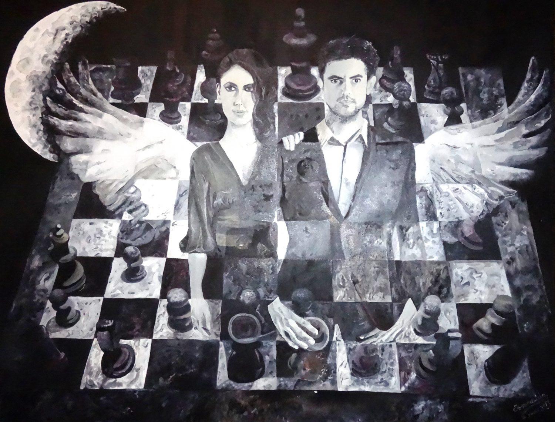 Cuadro a óleo, 80 x 100 cm, titulado Juego de Ángeles de Esmeralda