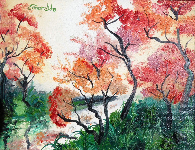 Óleo sobre lienzo titulado Paisaje colorista 2007 14x18 cm. Pintada por Esmeralda.