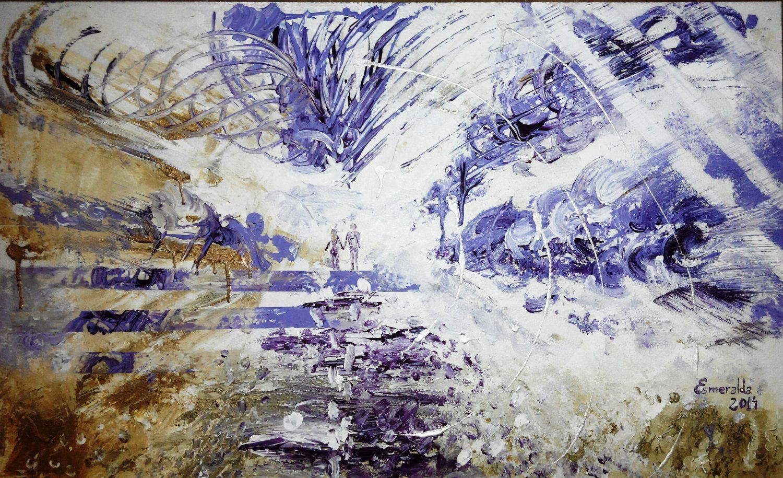 Acrílico sobre corcho 60 x 90 cm titulado Paseo Intemporal. Pintado en 2014 por Esmeralda