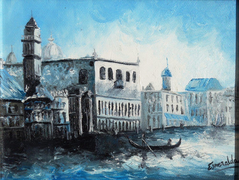 Óleo sobre lienzo titulado Paseo en azul 2007 14x28 cm. Pintada por Esmeralda
