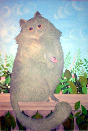 Óleo sobre lienzo 38 x 55 cm. Réplica de la pintura Gato con mariposa. Pintada por Esmeralda en 2005